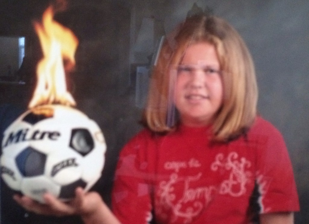 funny soccer picture, on fire