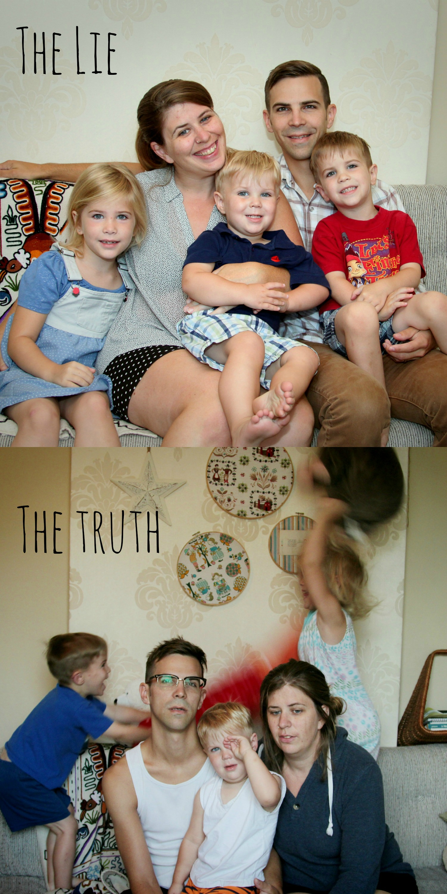 funny family picture, before and after