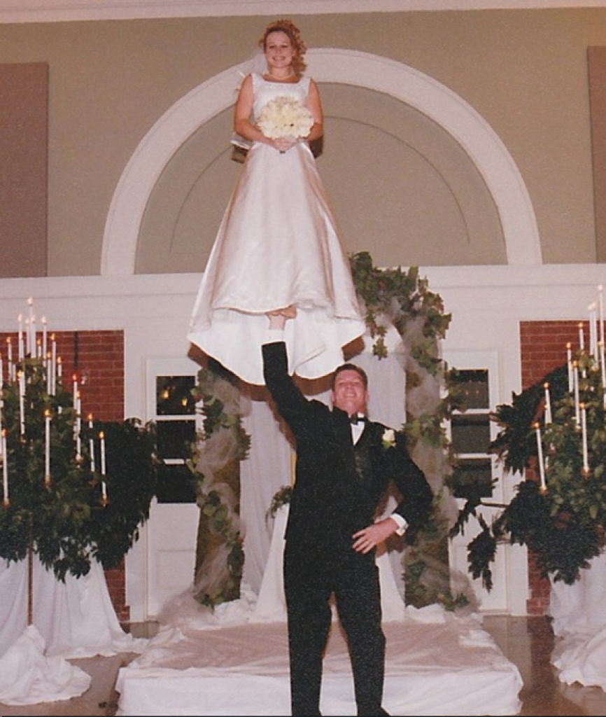 cheerleader wedding stunt