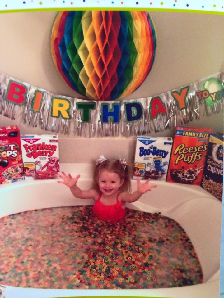 funny birthday wish, cereal bath
