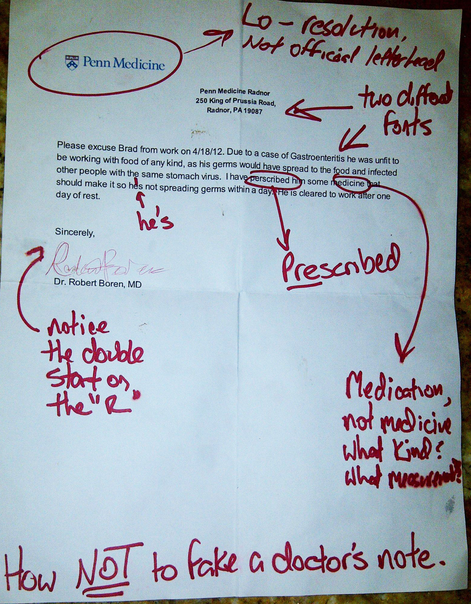 How Not To Fake A Doctor S Note